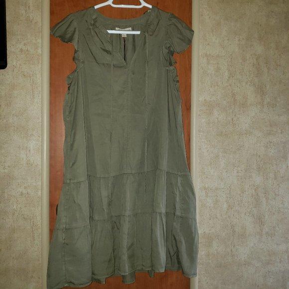 Knox Rose Olive Green V- Neck Summer Dress Large